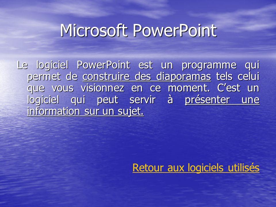 Microsoft PowerPoint Le logiciel PowerPoint est un programme qui permet de construire des diaporamas tels celui que vous visionnez en ce moment. Cest