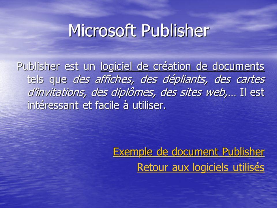 Microsoft Publisher Publisher est un logiciel de création de documents tels que des affiches, des dépliants, des cartes dinvitations, des diplômes, de