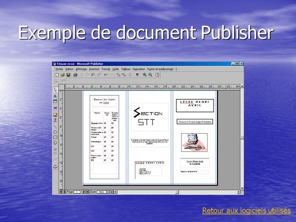 Exemple de document Publisher Retour aux logiciels utilisés