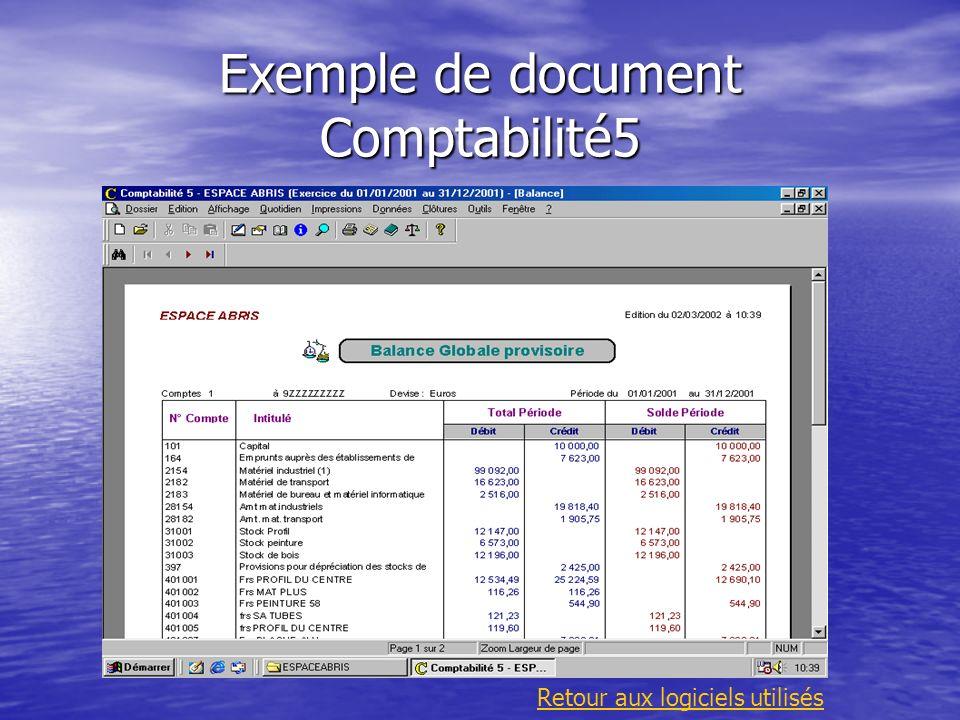 Exemple de document Comptabilité5 Retour aux logiciels utilisés