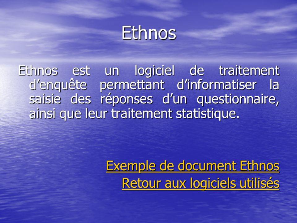 Ethnos Ethnos est un logiciel de traitement denquête permettant dinformatiser la saisie des réponses dun questionnaire, ainsi que leur traitement stat