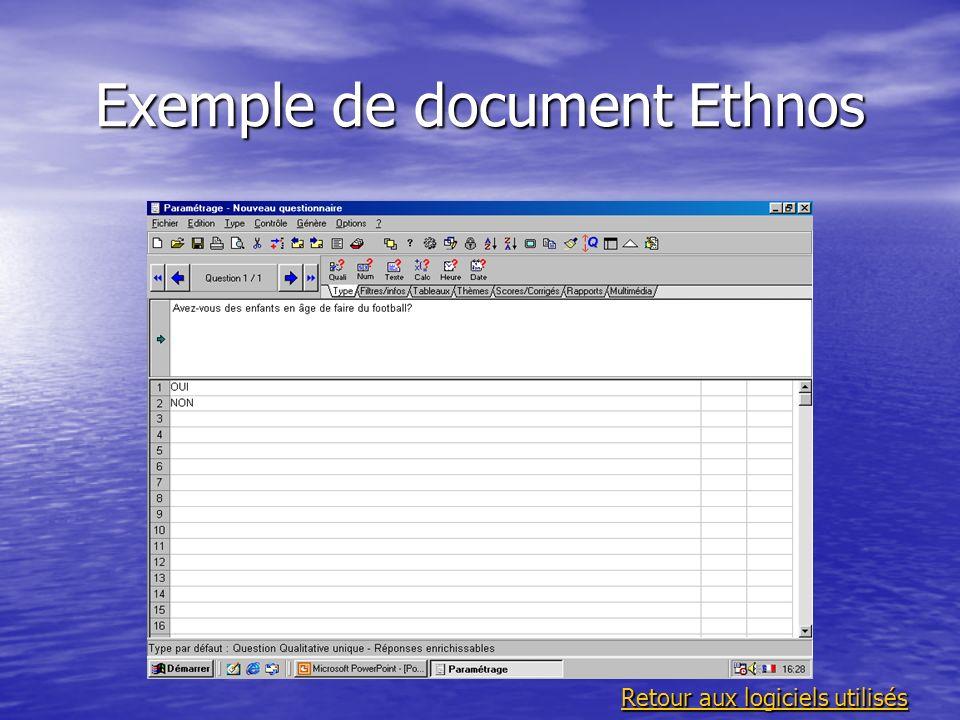 Exemple de document Ethnos Retour aux logiciels utilisés Retour aux logiciels utilisés
