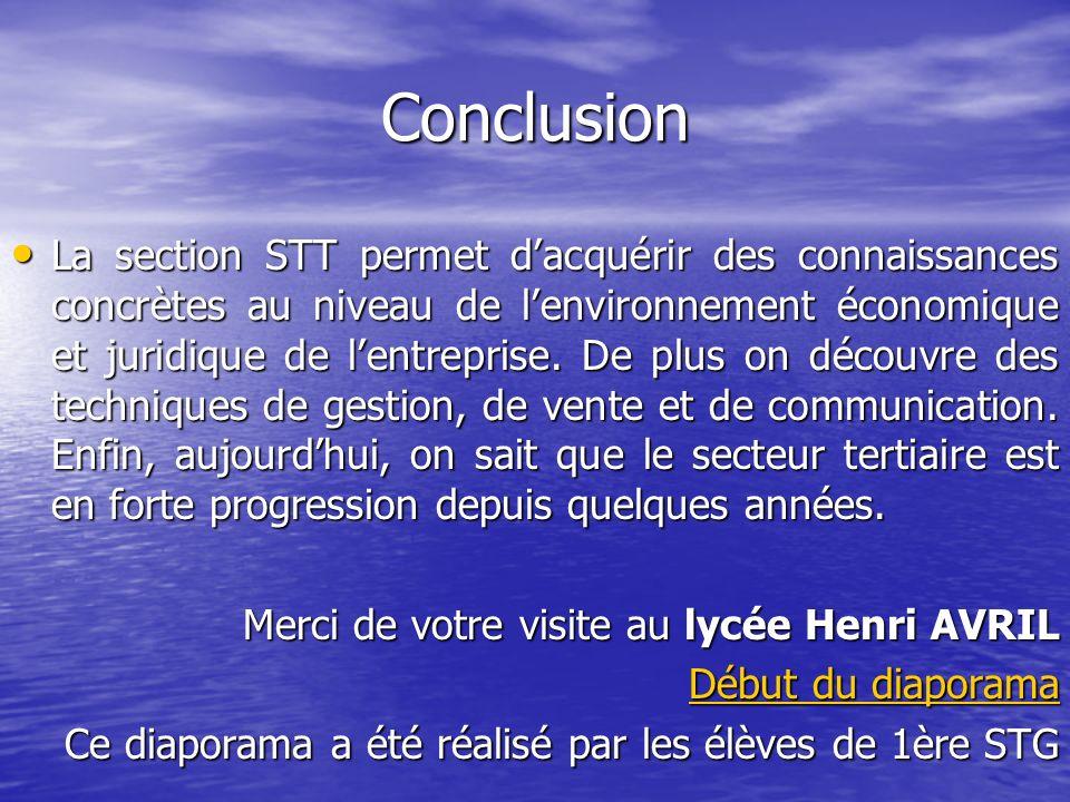 Conclusion La section STT permet dacquérir des connaissances concrètes au niveau de lenvironnement économique et juridique de lentreprise. De plus on