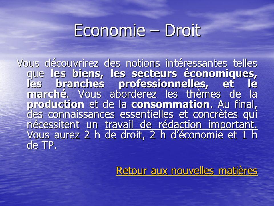 Economie – Droit Vous découvrirez des notions intéressantes telles que les biens, les secteurs économiques, les branches professionnelles, et le march