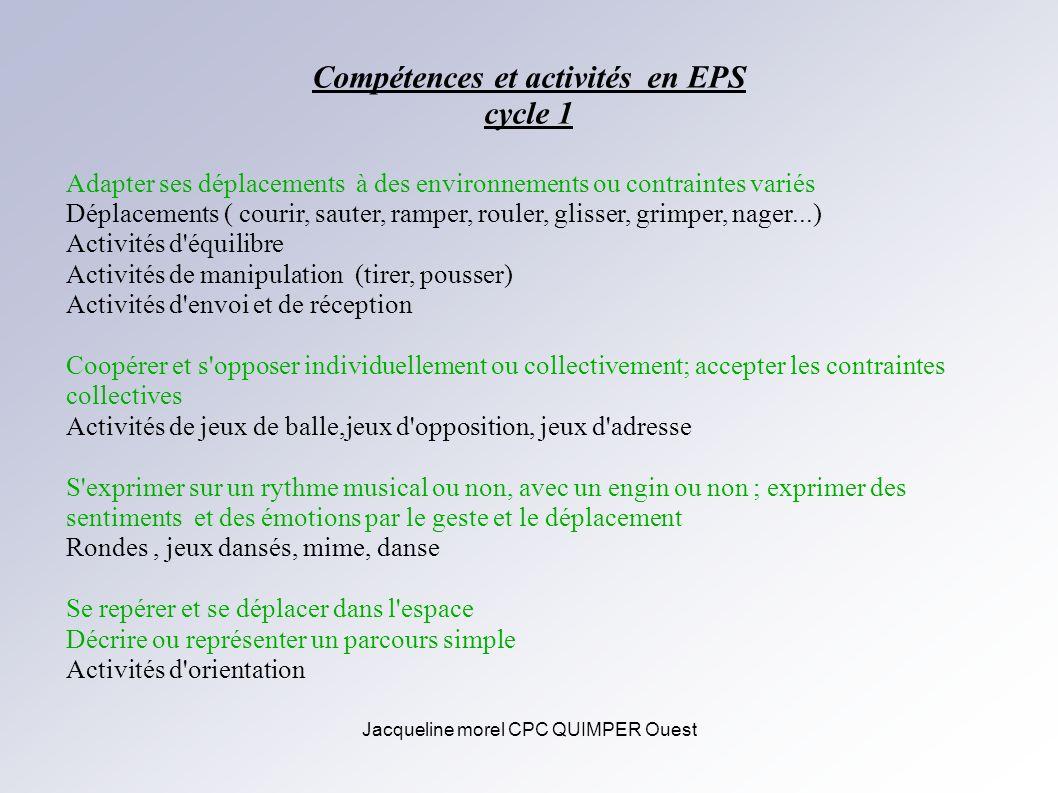 Jacqueline morel CPC QUIMPER Ouest Compétences et activités en EPS cycle 1 Adapter ses déplacements à des environnements ou contraintes variés Déplace