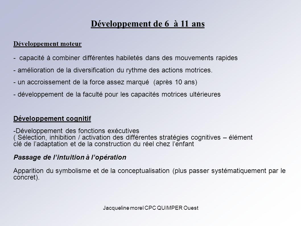 Jacqueline morel CPC QUIMPER Ouest Développement de 6 à 11 ans Développement moteur - capacité à combiner différentes habiletés dans des mouvements ra