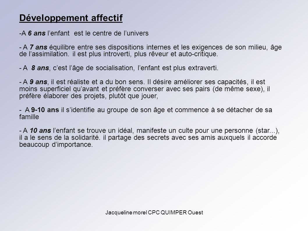 Jacqueline morel CPC QUIMPER Ouest Développement affectif -A 6 ans lenfant est le centre de lunivers - A 7 ans équilibre entre ses dispositions intern