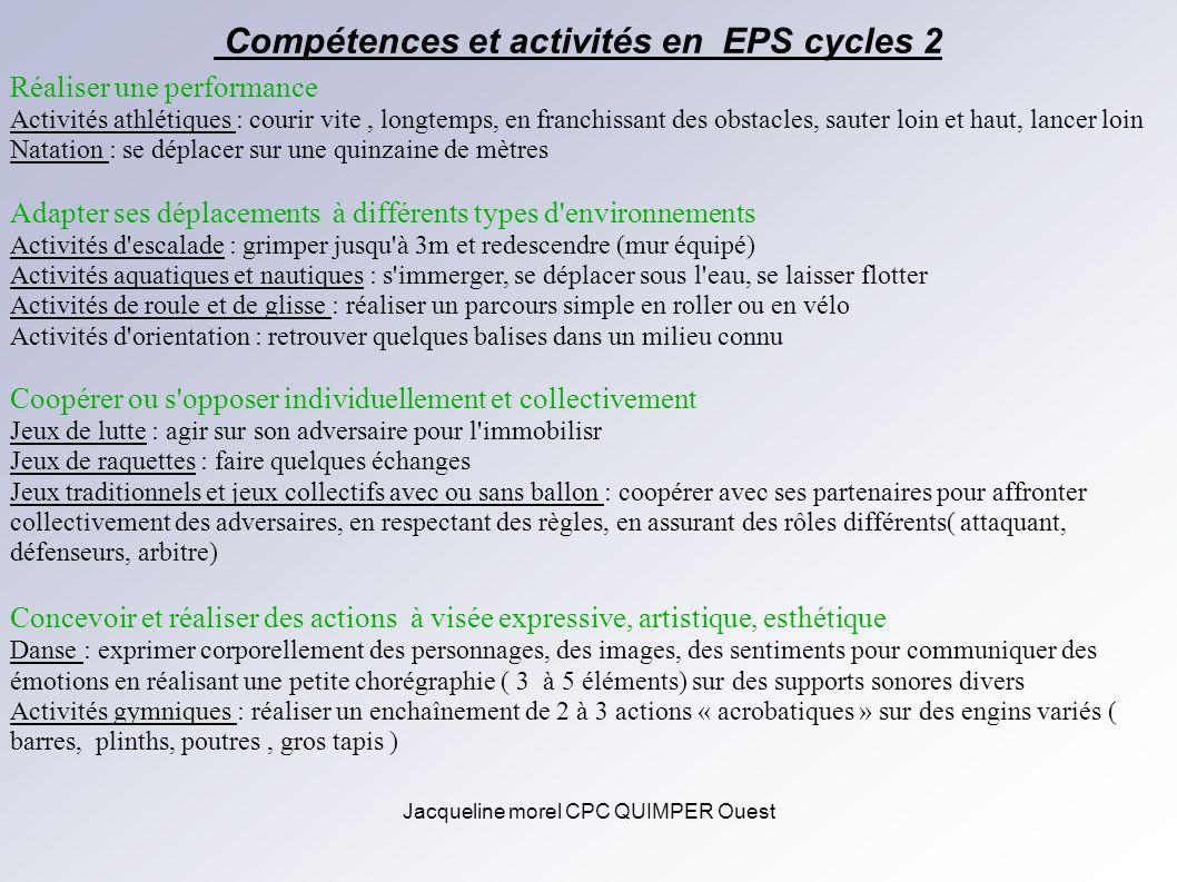Jacqueline morel CPC QUIMPER Ouest Compétences et activités en EPS cycles 2 Réaliser une performance Activités athlétiques : courir vite, longtemps, e