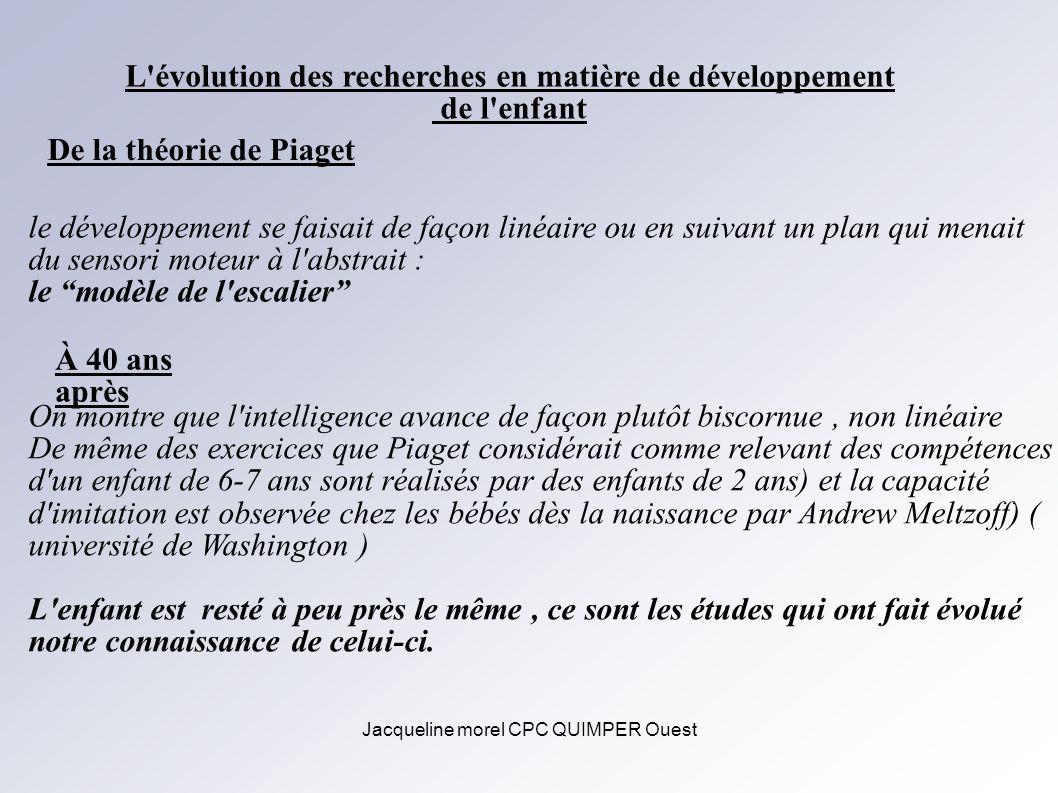 Jacqueline morel CPC QUIMPER Ouest L'évolution des recherches en matière de développement de l'enfant De la théorie de Piaget le développement se fais