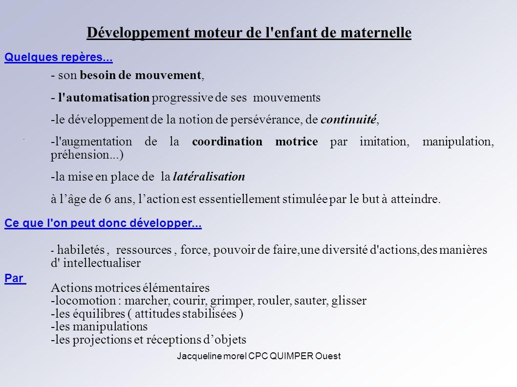 Jacqueline morel CPC QUIMPER Ouest Développement moteur de l'enfant de maternelle - son besoin de mouvement, - l'automatisation progressive de ses mou