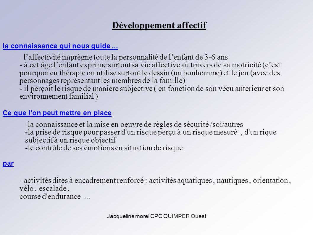 Jacqueline morel CPC QUIMPER Ouest Développement affectif - laffectivité imprègne toute la personnalité de lenfant de 3-6 ans - à cet âge lenfant expr