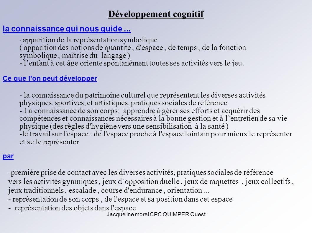 Jacqueline morel CPC QUIMPER Ouest Développement cognitif - apparition de la représentation symbolique ( apparition des notions de quantité, d'espace,