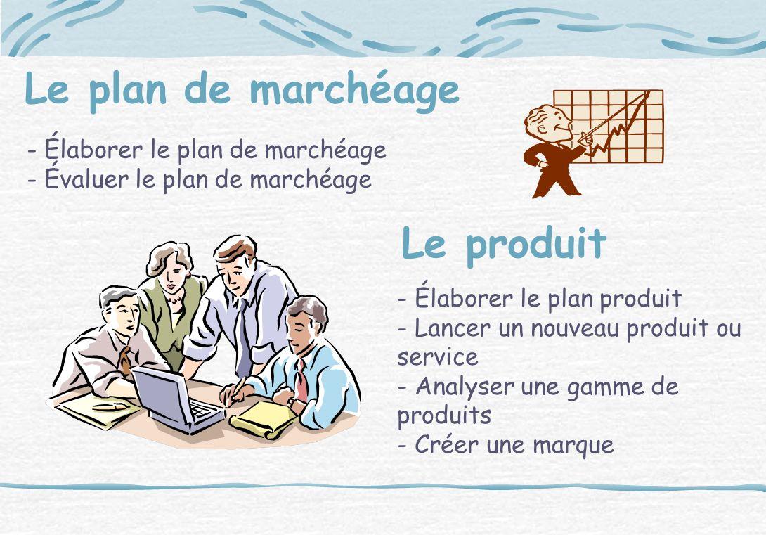 Le plan de marchéage - Élaborer le plan de marchéage - Évaluer le plan de marchéage Le produit - Élaborer le plan produit - Lancer un nouveau produit