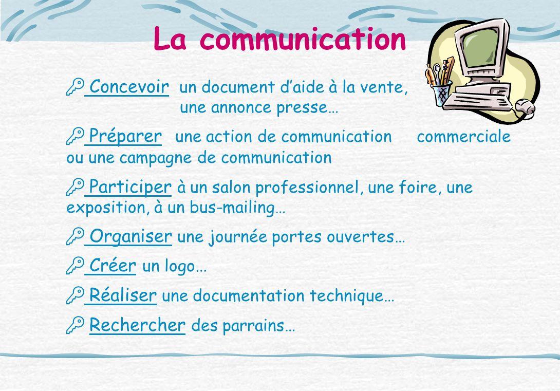 La communication Concevoir un document daide à la vente, une annonce presse… Préparer une action de communication commerciale ou une campagne de commu