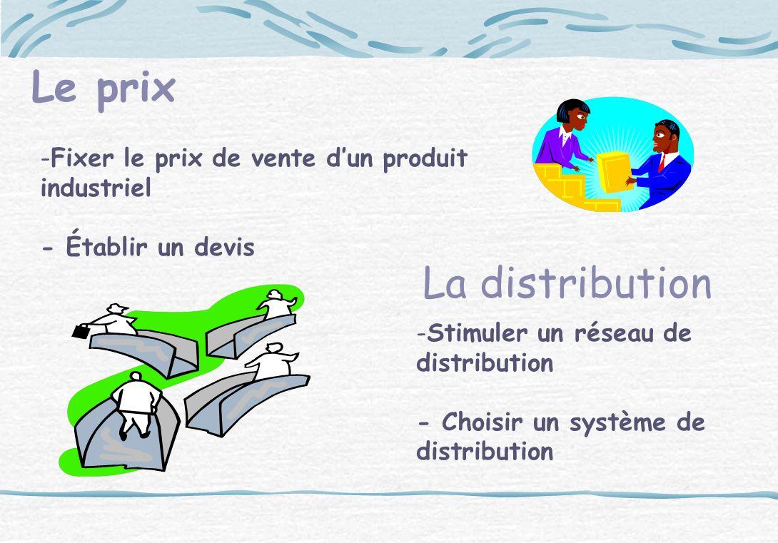 Le prix -Fixer le prix de vente dun produit industriel - Établir un devis La distribution -Stimuler un réseau de distribution - Choisir un système de