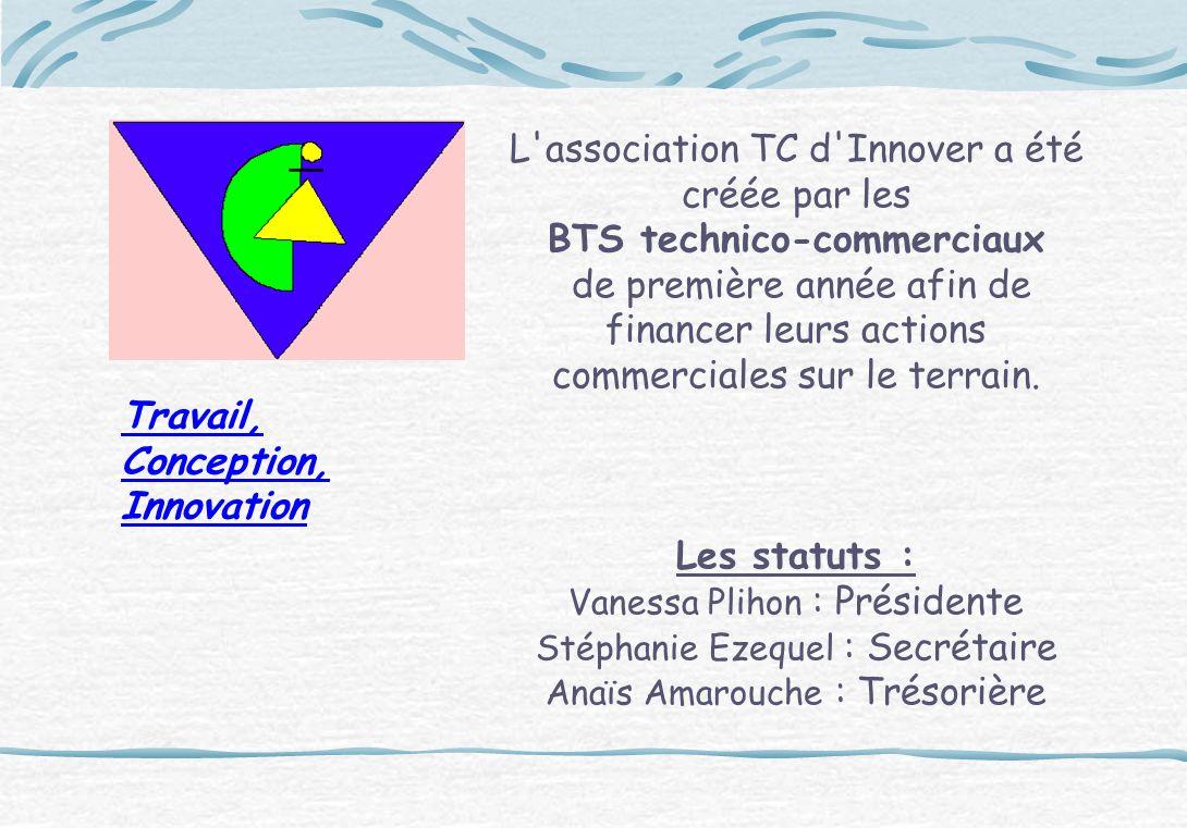 L'association TC d'Innover a été créée par les BTS technico-commerciaux de première année afin de financer leurs actions commerciales sur le terrain.