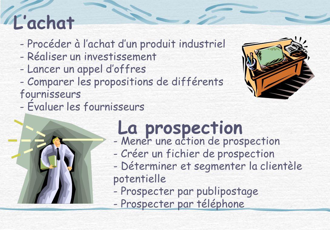 Lachat - Procéder à lachat dun produit industriel - Réaliser un investissement - Lancer un appel doffres - Comparer les propositions de différents fou
