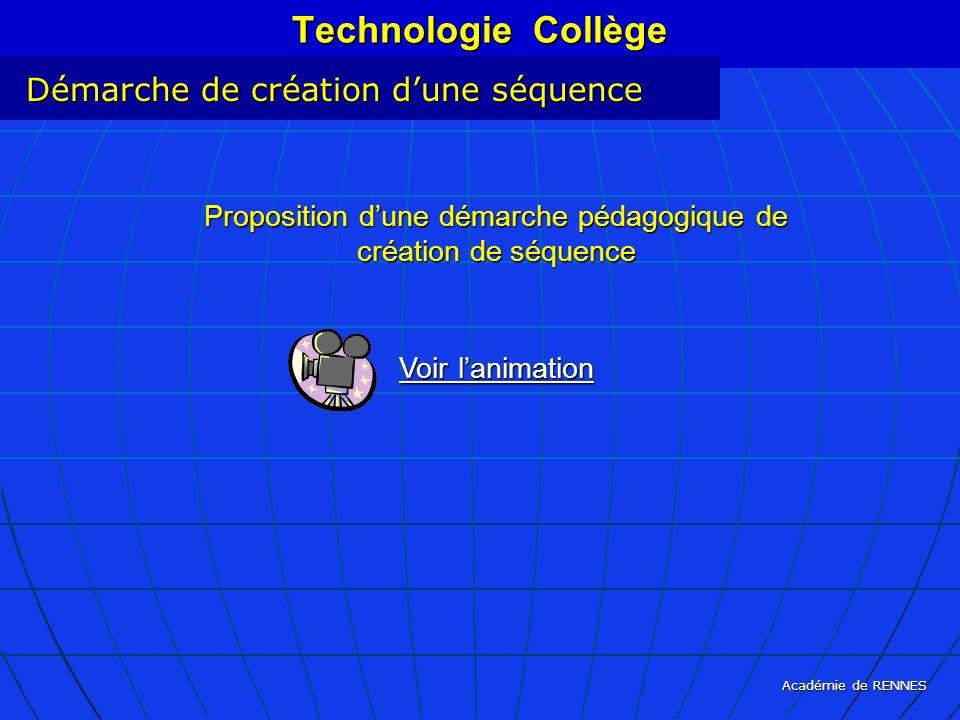 Académie de RENNES Technologie Collège Démarche de création dune séquence Proposition dune démarche pédagogique de création de séquence Voir lanimatio