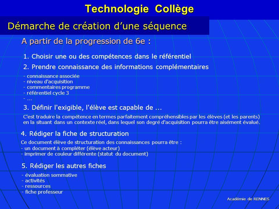 Académie de RENNES Technologie Collège 5. Rédiger les autres fiches - évaluation sommative - activités - ressources - fiche professeur A partir de la