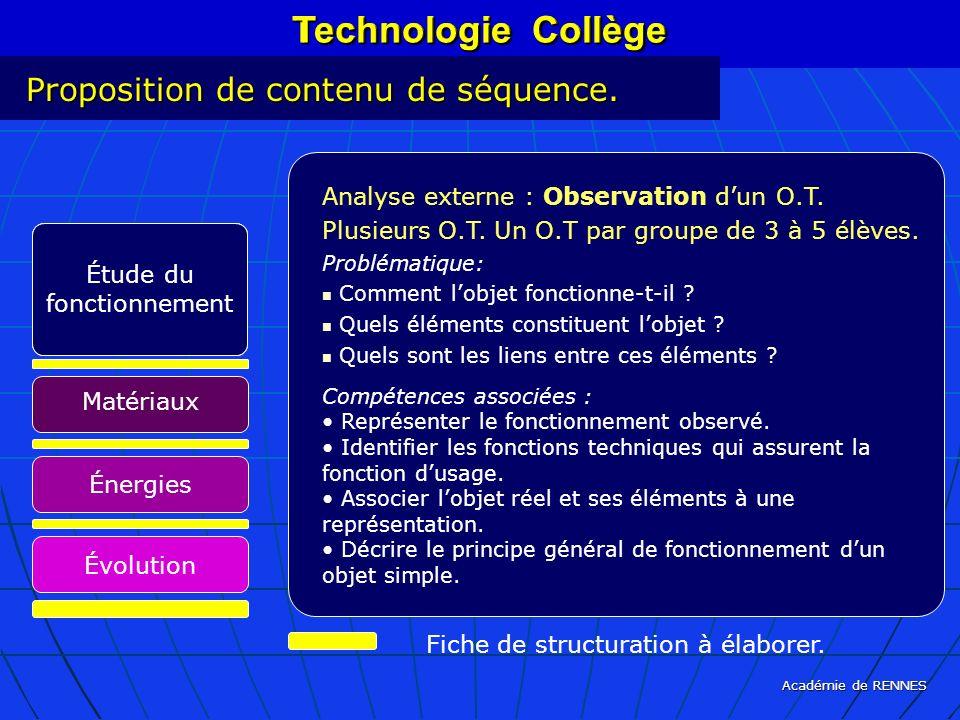 Académie de RENNES Technologie Collège Proposition de contenu de séquence. Fiche de structuration à élaborer. Technologie Collège Analyse externe : Ob