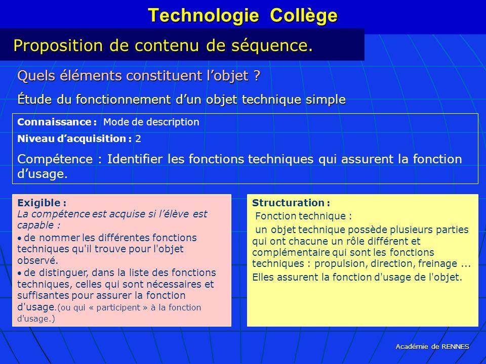 Académie de RENNES Technologie Collège Quels éléments constituent lobjet ? Étude du fonctionnement dun objet technique simple Connaissance : Mode de d