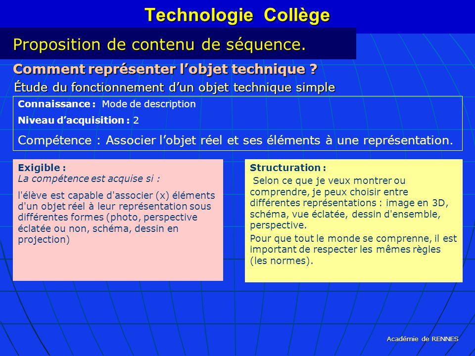 Académie de RENNES Technologie Collège Comment représenter lobjet technique ? Étude du fonctionnement dun objet technique simple Connaissance : Mode d