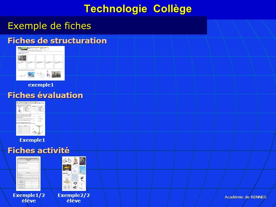 Académie de RENNES Technologie Collège Exemple de fiches Fiches de structuration Fiches évaluation Fiches activité exemple1 Exemple1 Exemple1/2 élève