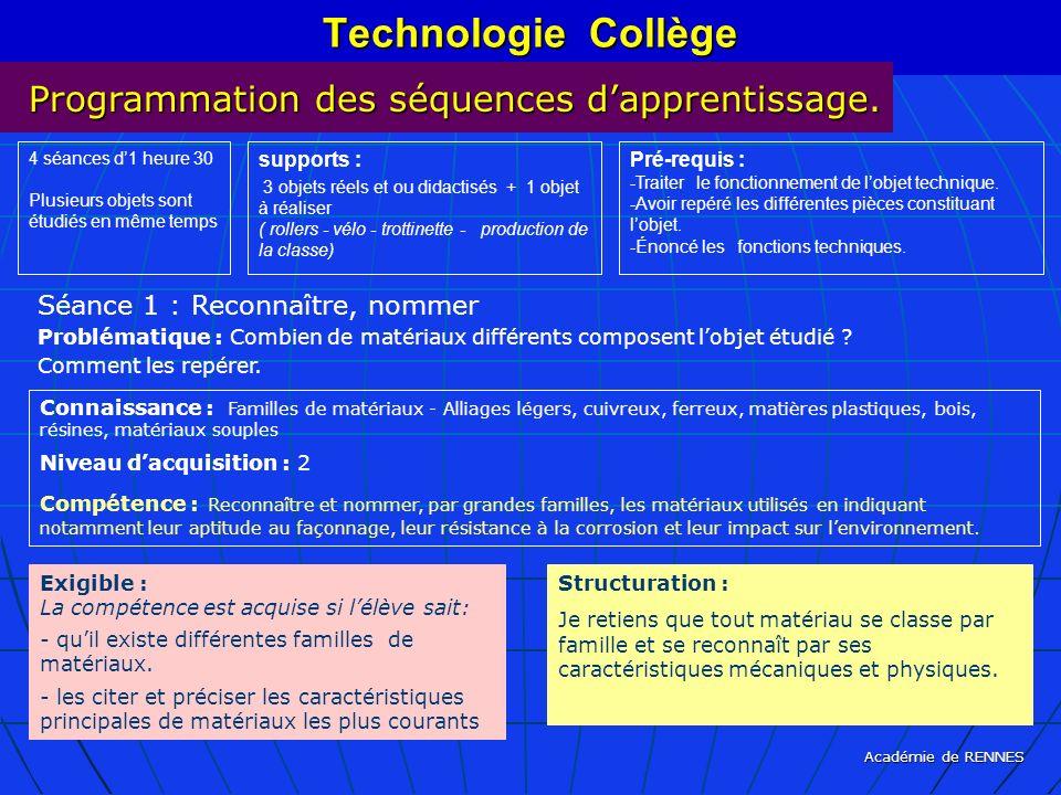 Académie de RENNES Technologie Collège Programmation des séquences dapprentissage. 4 séances d1 heure 30 Plusieurs objets sont étudiés en même temps s