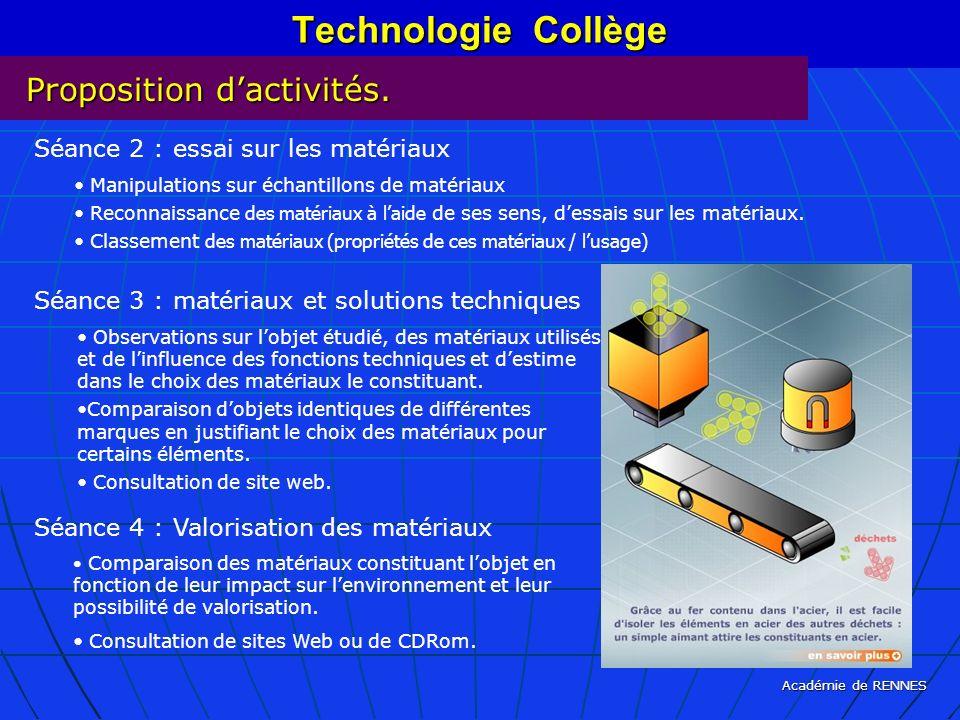 Académie de RENNES Technologie Collège Proposition dactivités. Séance 2 : essai sur les matériaux Manipulations sur échantillons de matériaux Reconnai