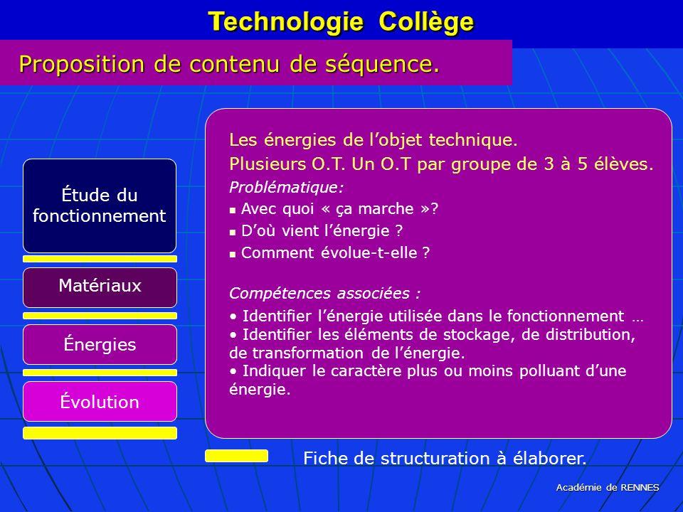 Académie de RENNES Technologie Collège Fiche de structuration à élaborer. Technologie Collège Les énergies de lobjet technique. Plusieurs O.T. Un O.T