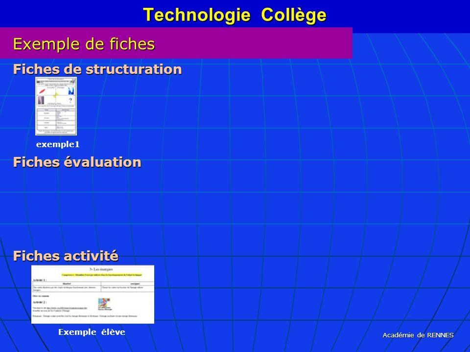 Académie de RENNES Technologie Collège Exemple de fiches Fiches de structuration Fiches évaluation Fiches activité exemple1 Exemple élève