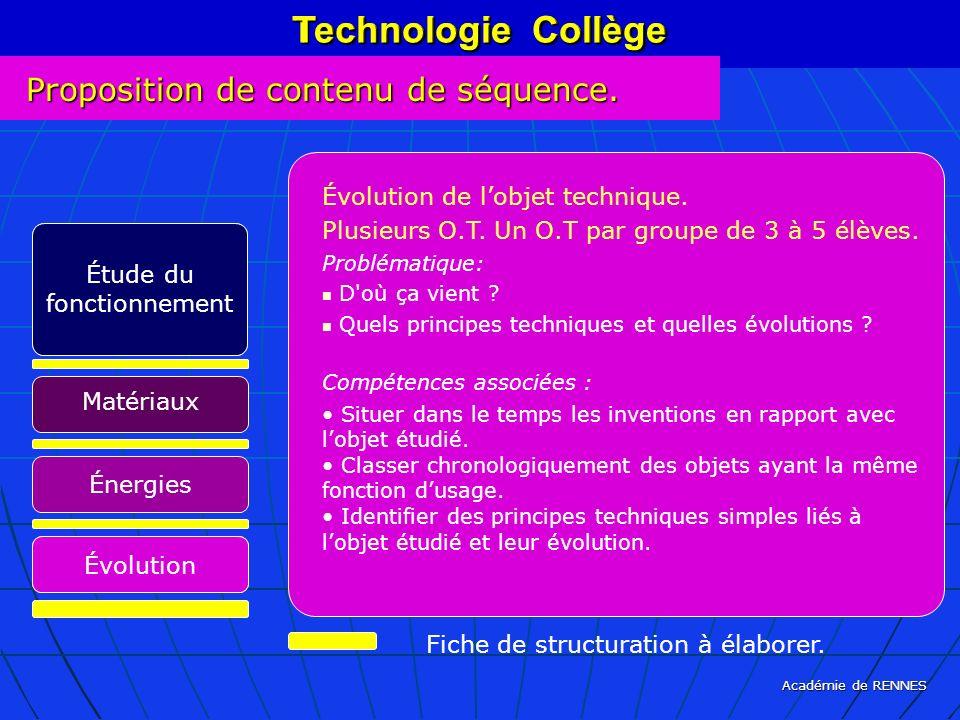 Académie de RENNES Technologie Collège Fiche de structuration à élaborer. Technologie Collège Évolution de lobjet technique. Plusieurs O.T. Un O.T par