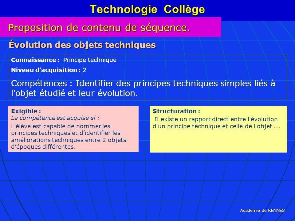 Académie de RENNES Technologie Collège Connaissance : Principe technique Niveau dacquisition : 2 Compétences : Identifier des principes techniques sim
