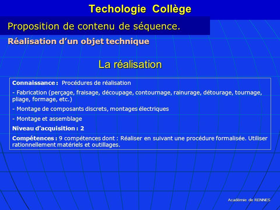 Académie de RENNES Techologie Collège Connaissance : Procédures de réalisation - Fabrication (perçage, fraisage, découpage, contournage, rainurage, dé