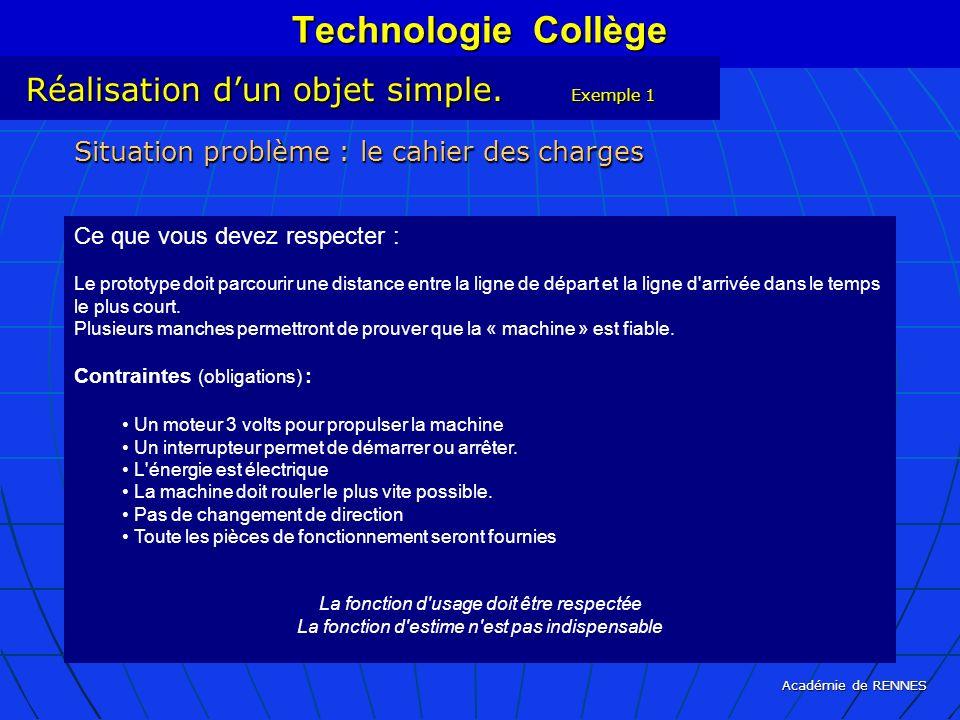 Académie de RENNES Technologie Collège Réalisation dun objet simple. Exemple 1 Situation problème : le cahier des charges Ce que vous devez respecter