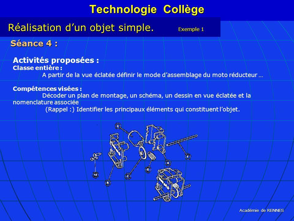 Académie de RENNES Technologie Collège Réalisation dun objet simple. Exemple 1 Séance 4 : Activités proposées : Classe entière : A partir de la vue éc