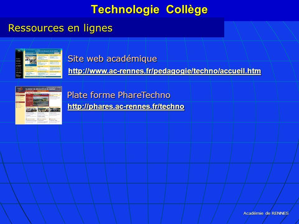Académie de RENNES Technologie Collège Ressources en lignes Site web académique http://www.ac-rennes.fr/pedagogie/techno/accueil.htm Plate forme Phare