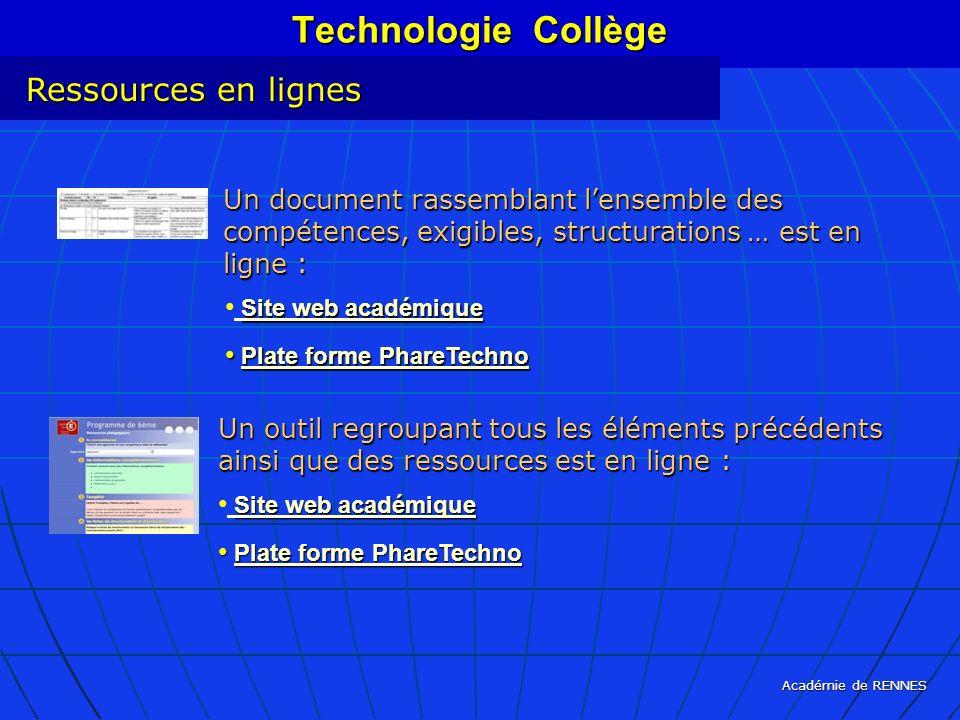Académie de RENNES Technologie Collège Ressources en lignes Un document rassemblant lensemble des compétences, exigibles, structurations … est en lign
