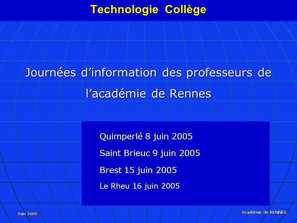 Juin 2005 Académie de RENNES Journées dinformation des professeurs de lacadémie de Rennes Quimperlé 8 juin 2005 Saint Brieuc 9 juin 2005 Brest 15 juin 2005 Le Rheu 16 juin 2005 Technologie Collège