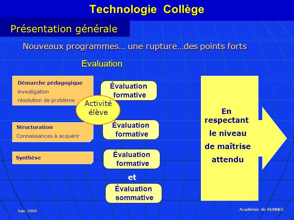 Juin 2005 Académie de RENNES Nouveaux programmes… une rupture…des points forts Evaluation Évaluation formative Évaluation sommative Démarche pédagogiq