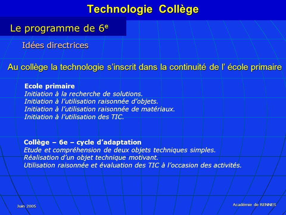 Juin 2005 Académie de RENNES Ecole primaire Initiation à la recherche de solutions. Initiation à lutilisation raisonnée dobjets. Initiation à lutilisa