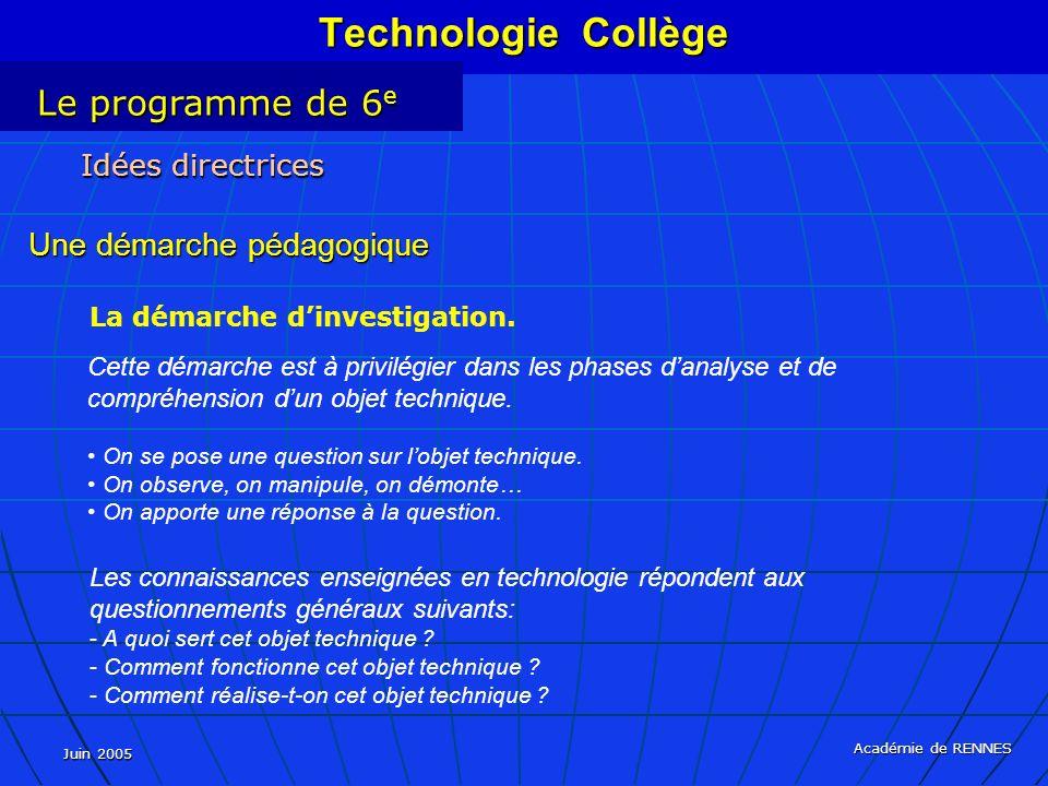 Juin 2005 Académie de RENNES La démarche dinvestigation.