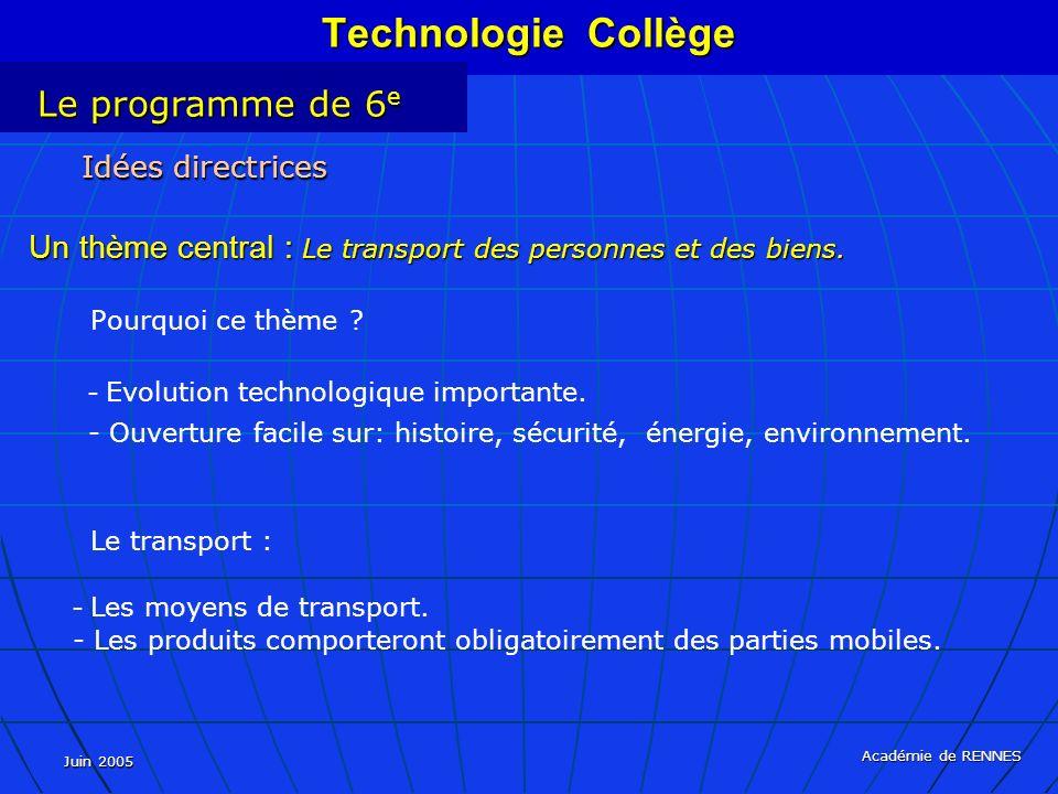 Juin 2005 Académie de RENNES Pourquoi ce thème ? Idées directrices Un thème central : Le transport des personnes et des biens. - Evolution technologiq