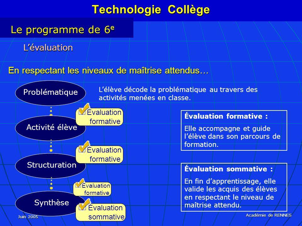 Juin 2005 Académie de RENNES Lévaluation En respectant les niveaux de maîtrise attendus… Lélève décode la problématique au travers des activités menées en classe.