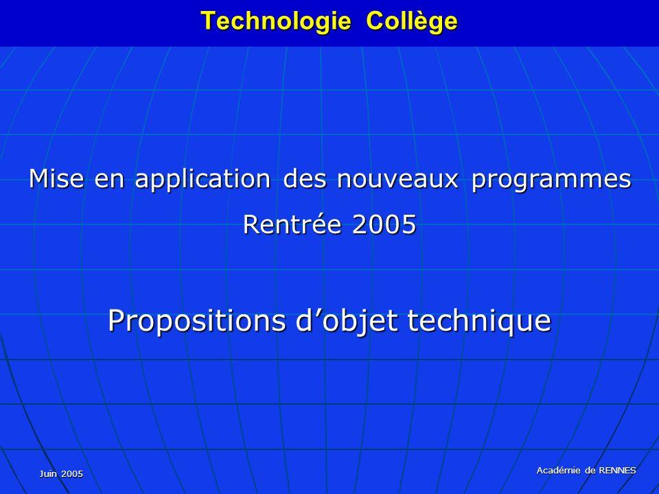 Juin 2005 Académie de RENNES Mise en application des nouveaux programmes Rentrée 2005 Propositions dobjet technique Technologie Collège