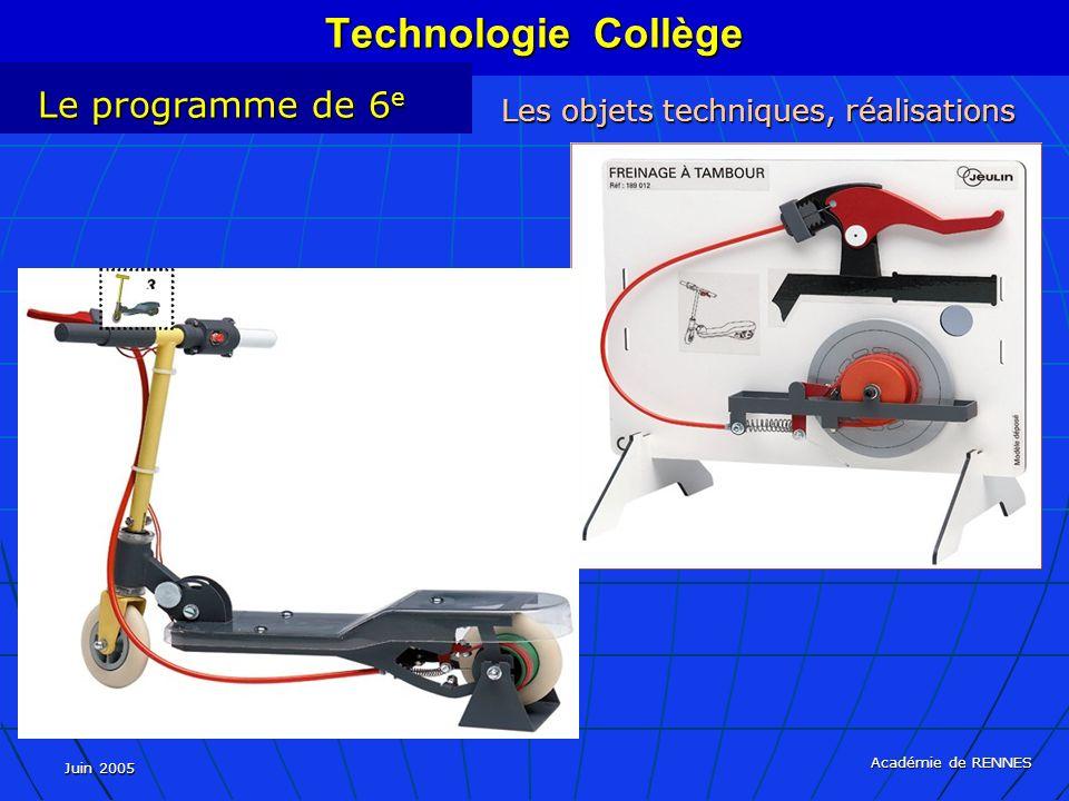 Juin 2005 Académie de RENNES Technologie Collège Le programme de 6 e Les objets techniques, réalisations
