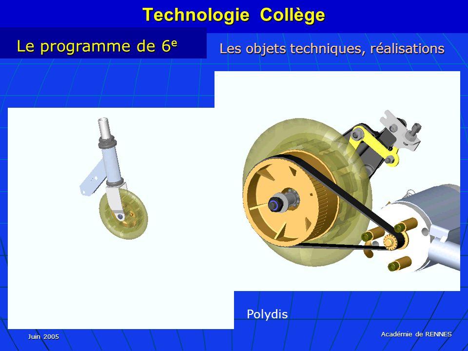 Juin 2005 Académie de RENNES Technologie Collège Le programme de 6 e Les objets techniques, réalisations Polydis