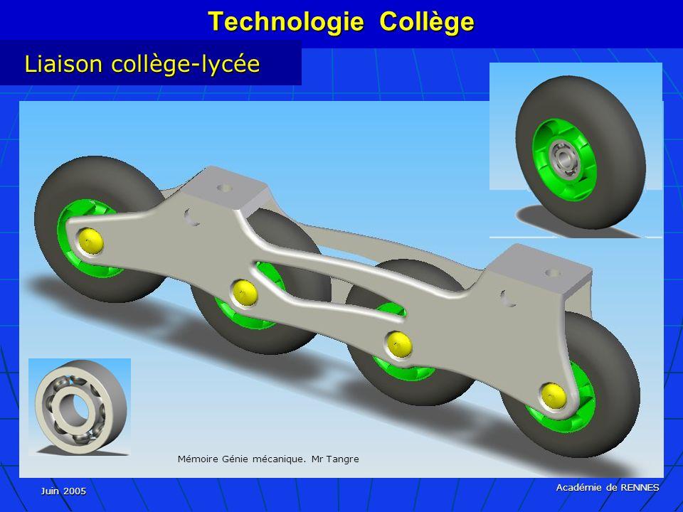 Juin 2005 Académie de RENNES Technologie Collège Liaison collège-lycée Mémoire Génie mécanique.