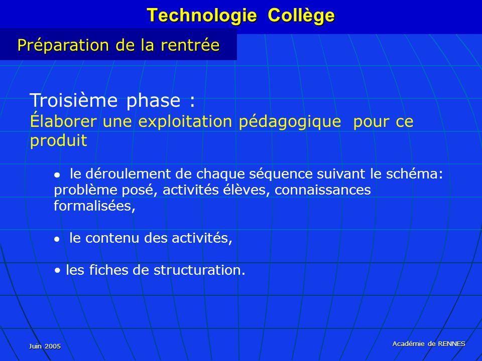 Juin 2005 Académie de RENNES Technologie Collège Préparation de la rentrée Troisième phase : Élaborer une exploitation pédagogique pour ce produit le