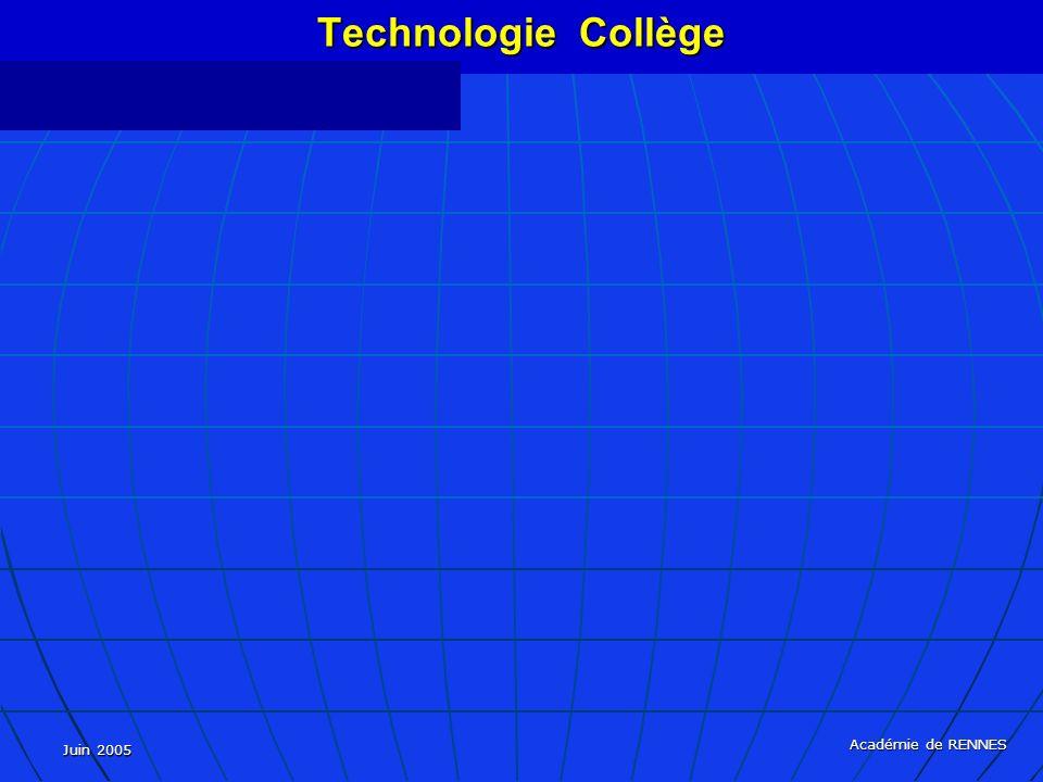 Juin 2005 Académie de RENNES Technologie Collège